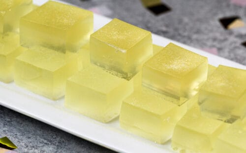 image of champagne jello shots made with vodka and champagne