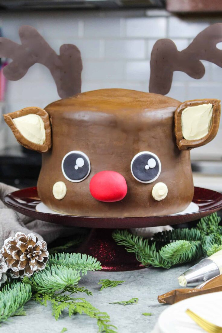 image of rudolph cake frosted with peanut butter chocolate frosting