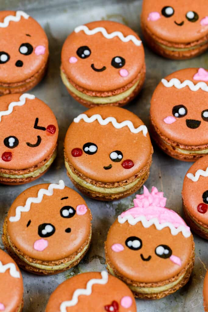 image of gingerbread macarons frosted with gingerbread buttercream