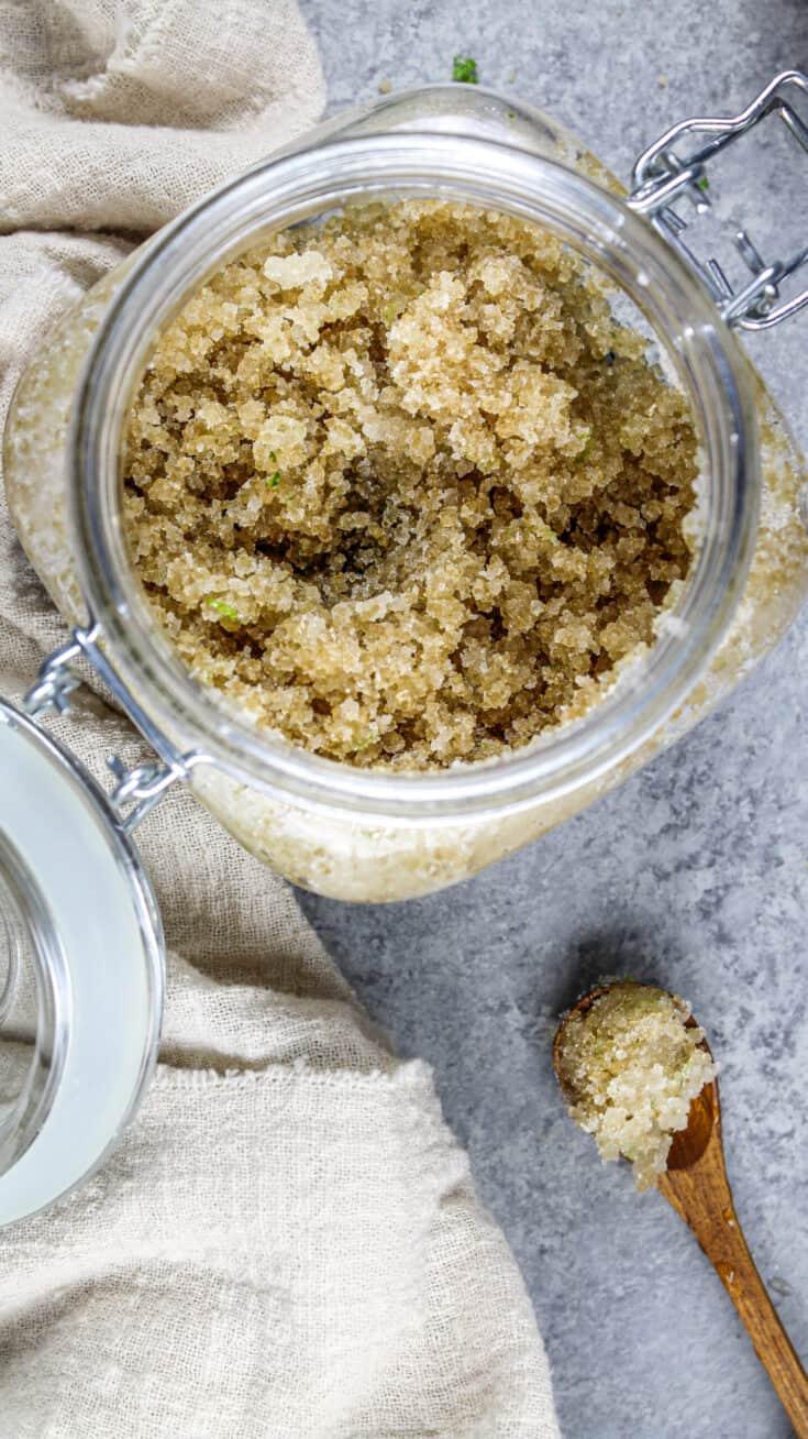image of a coconut sugar scrub in a glass jar