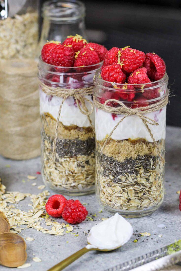 image of lemon raspberry overnight oats