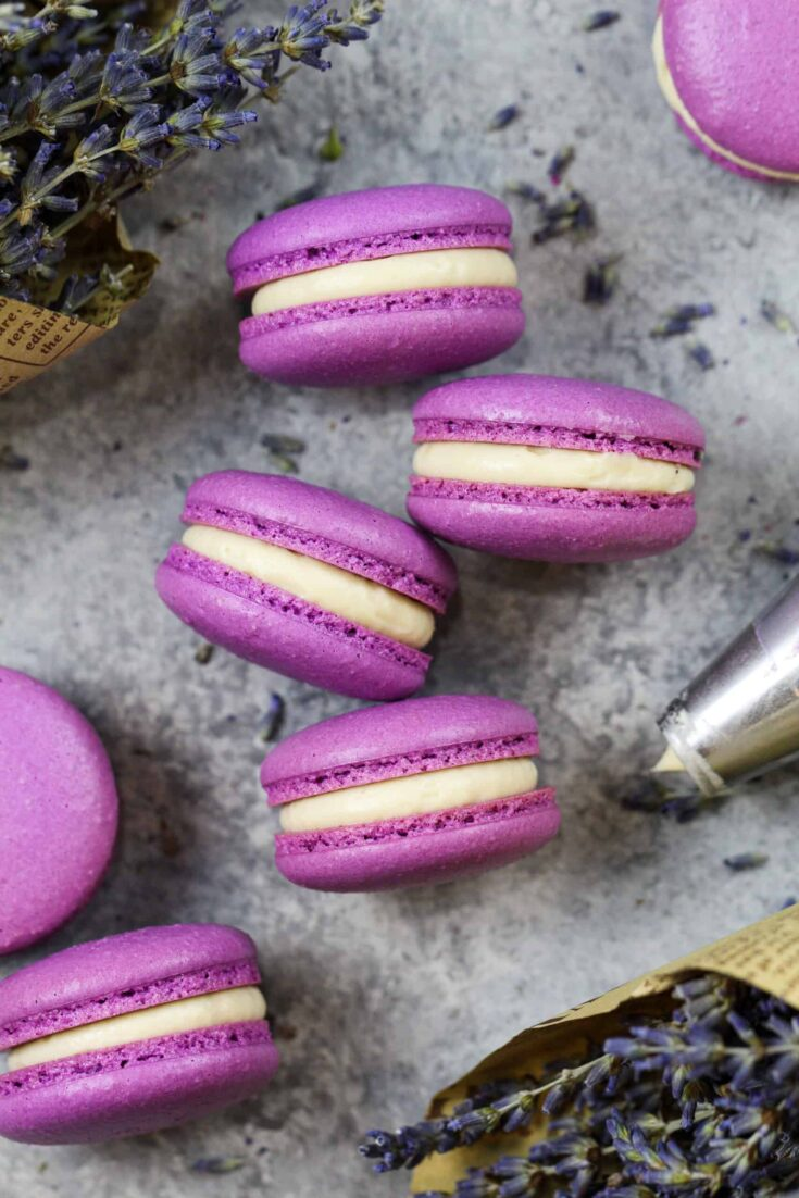 image of honey lavender macarons filled with a honey buttercream