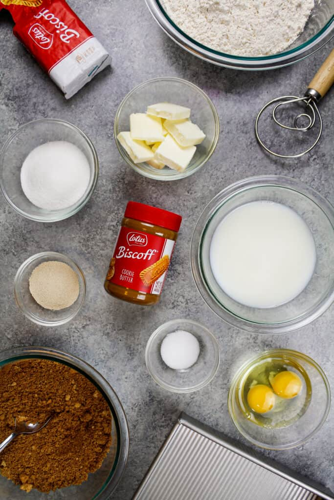 image of ingredients laid out on a counter to make biscoff cinnamon rolls
