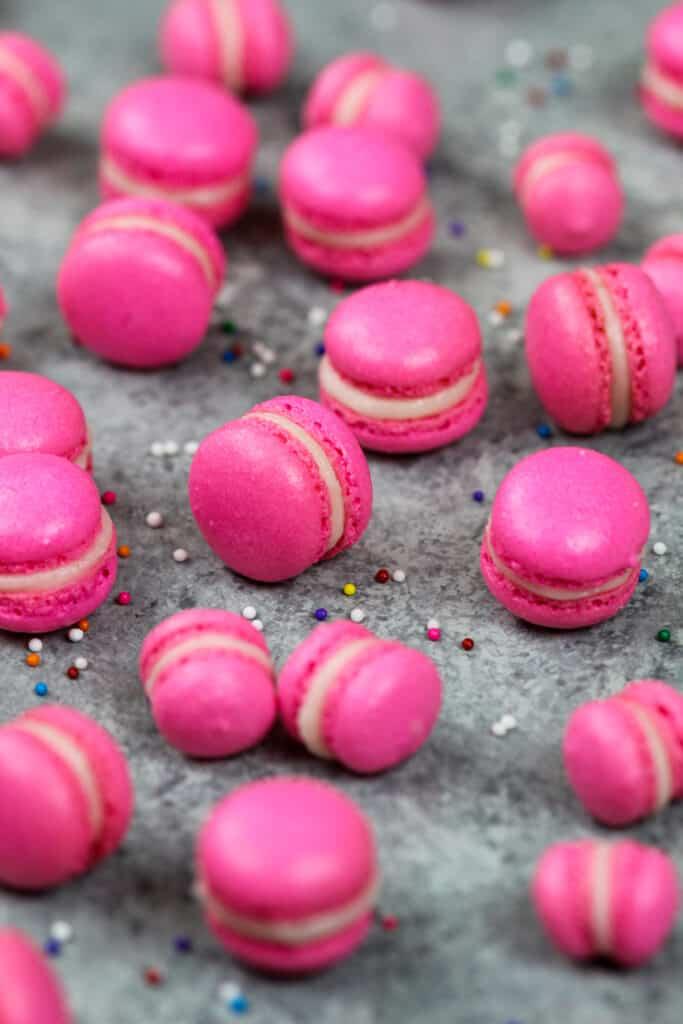 image of mini pink macarons
