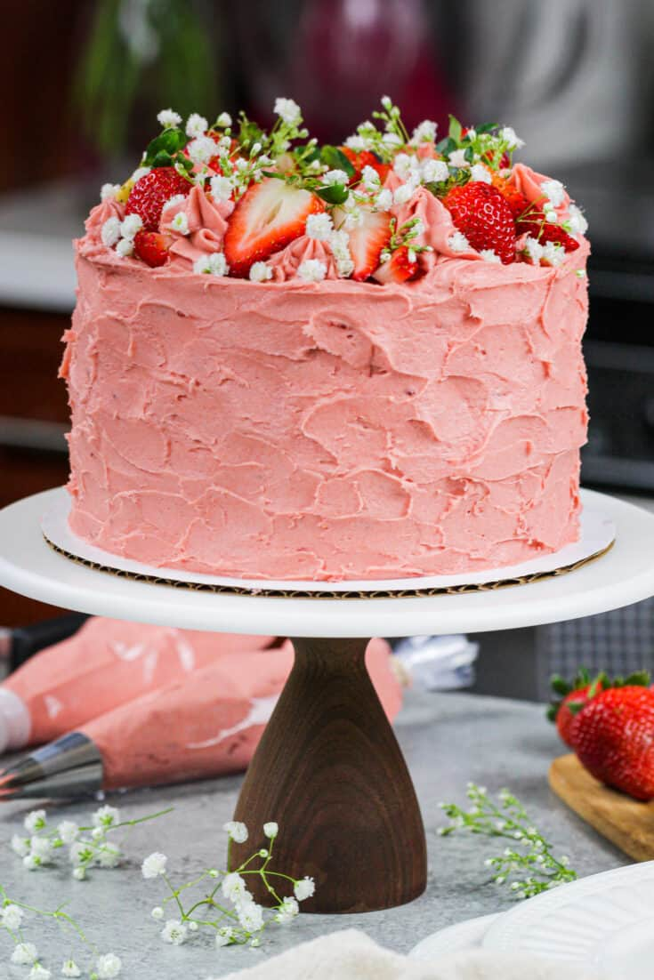 image of strawberry vanilla cake frosted with a real strawberry buttercream frosting