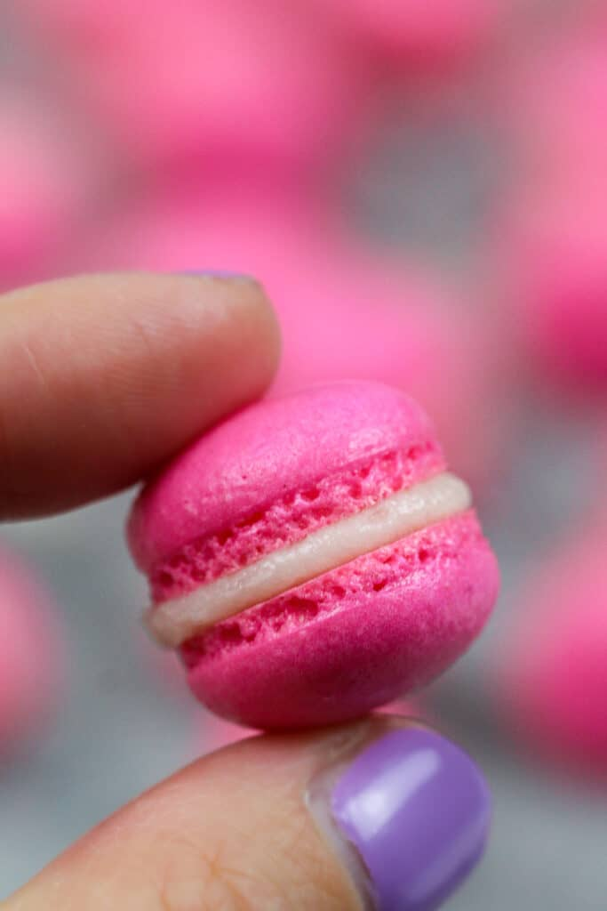image of a mini macaron filled with buttercream frosting