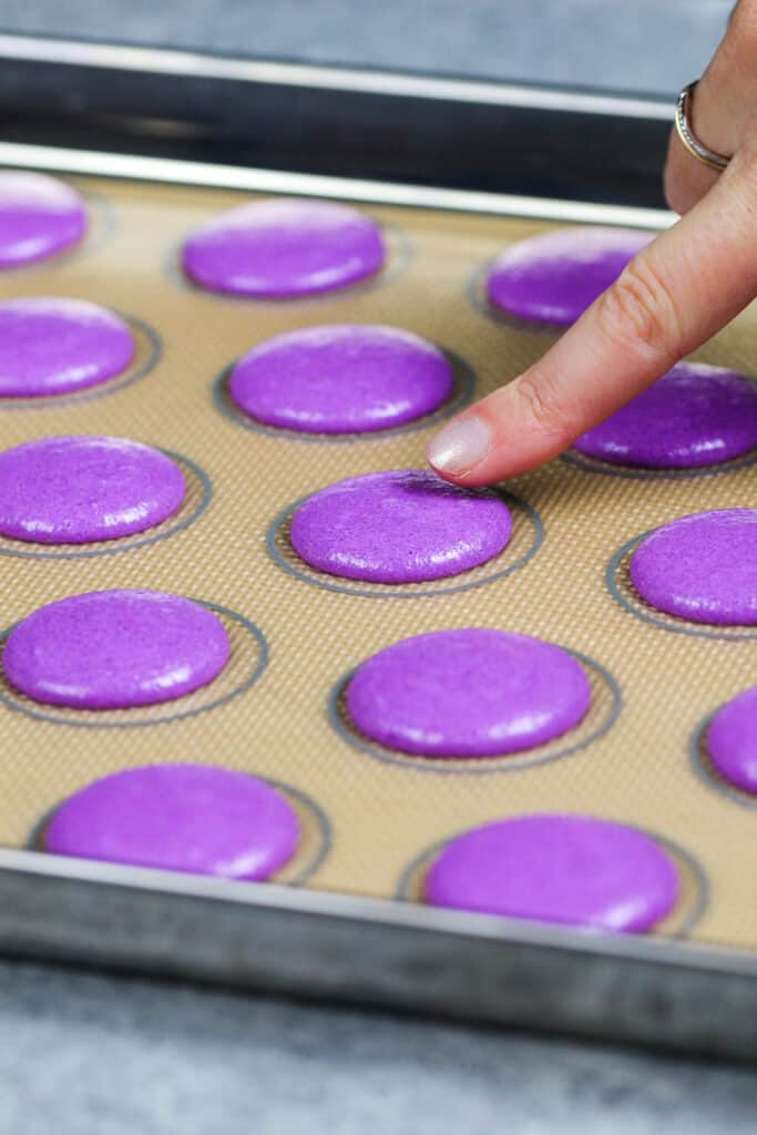 image of purple macaron batter that's been piped and is resting to form a skin before being baked