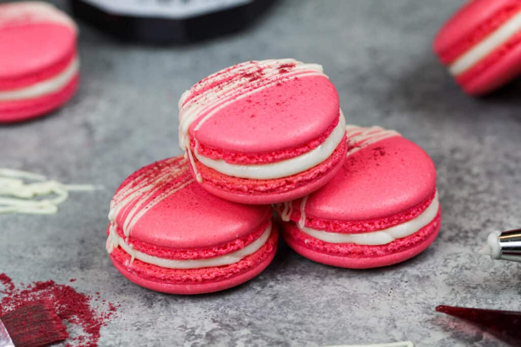 image of french meringue that's been colored pink with gel food coloring to make raspberry macarons