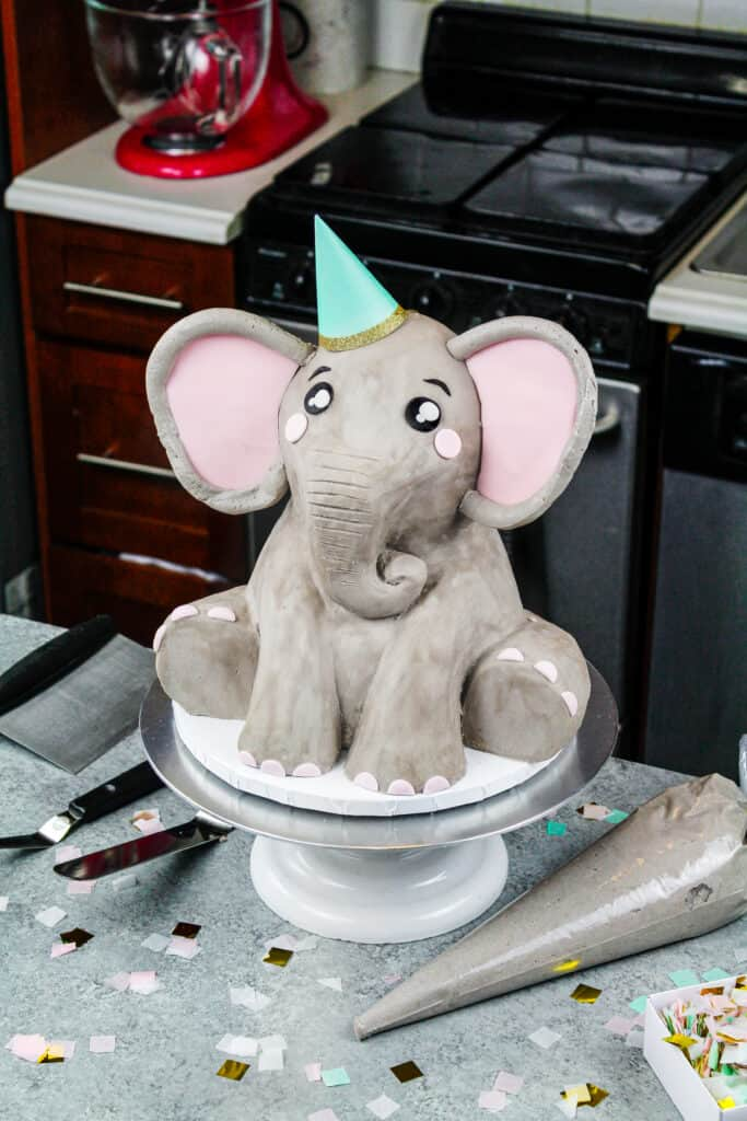 image of a cute buttercream elephant cake