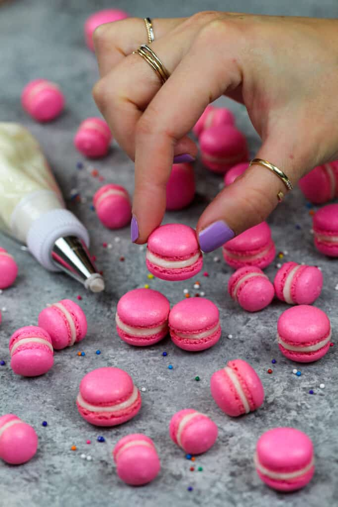 image of mini macarons made using the french technique