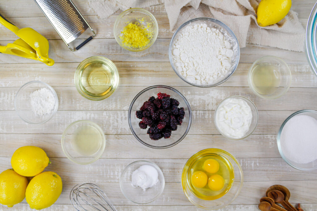 image of ingredients laid out to make a blackberry loaf cake