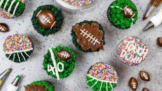 image of football cupcakes decorated with buttercream for the superbowl