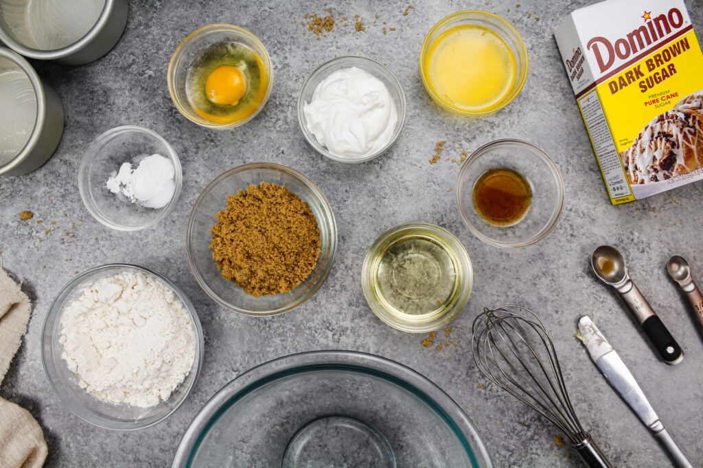 image of ingredients laid out to make an adorable little 4 inch layers cake with brown sugar cake layers