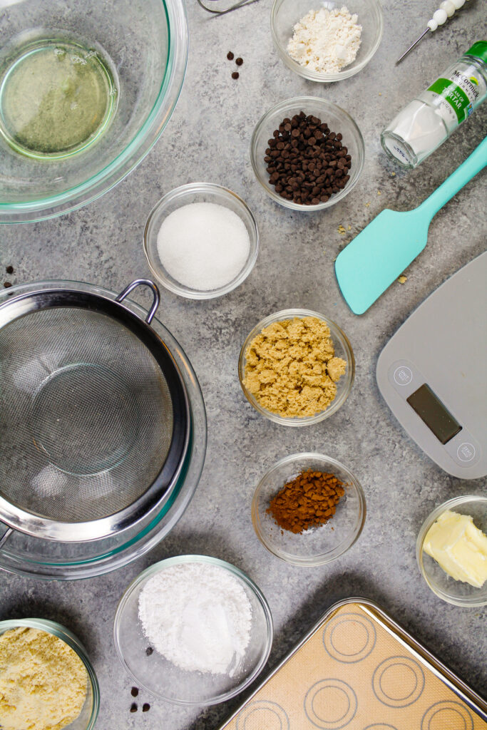 image of ingredients laid out to make french cookie dough macarons