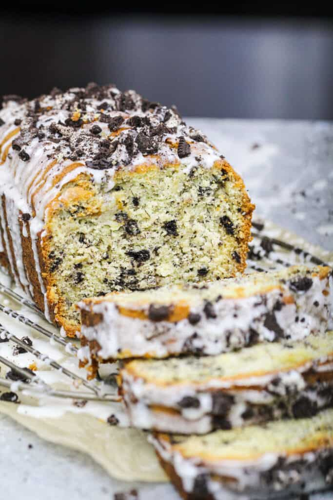 image of oreo banana bread that's been cut into to show how tender its texture is