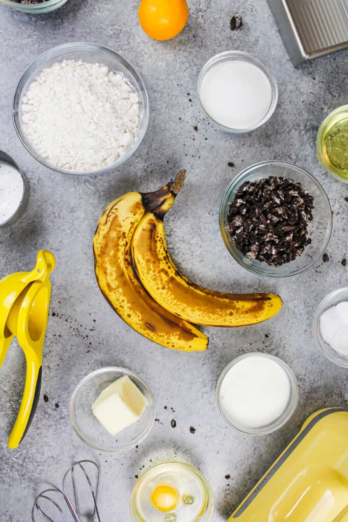 ingredients laid out to make oreo banana bread