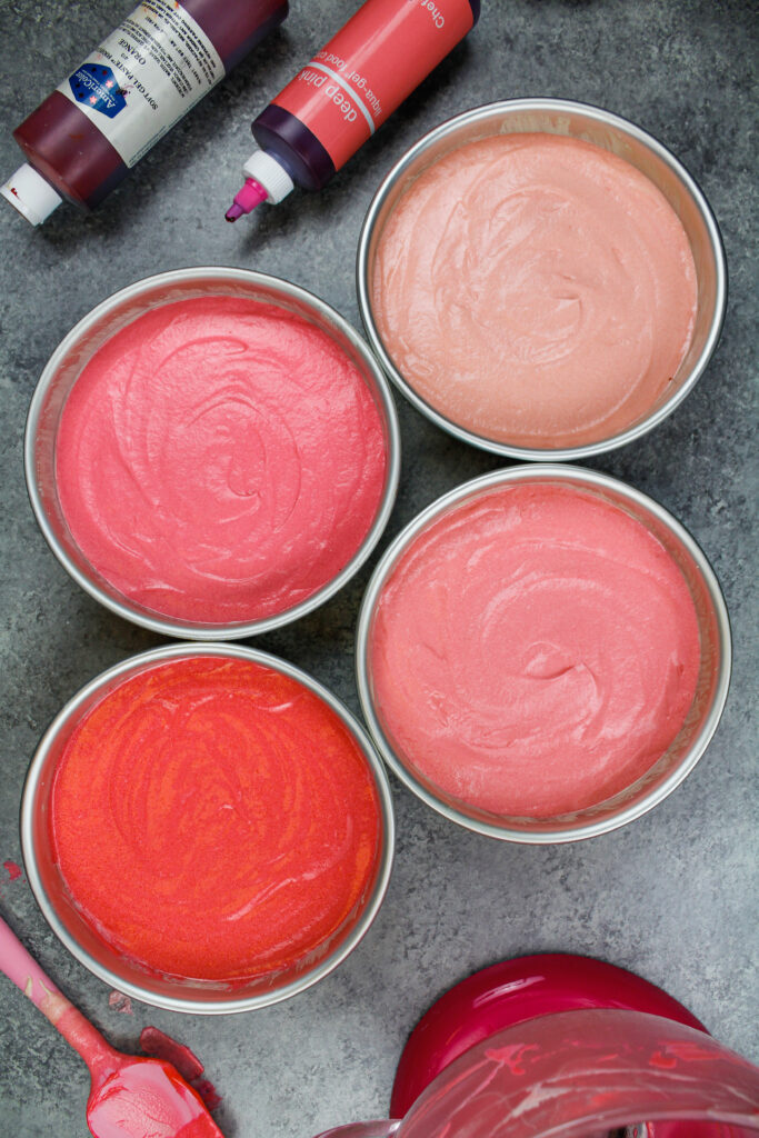 image of ombre pink cake layers ready to be baked