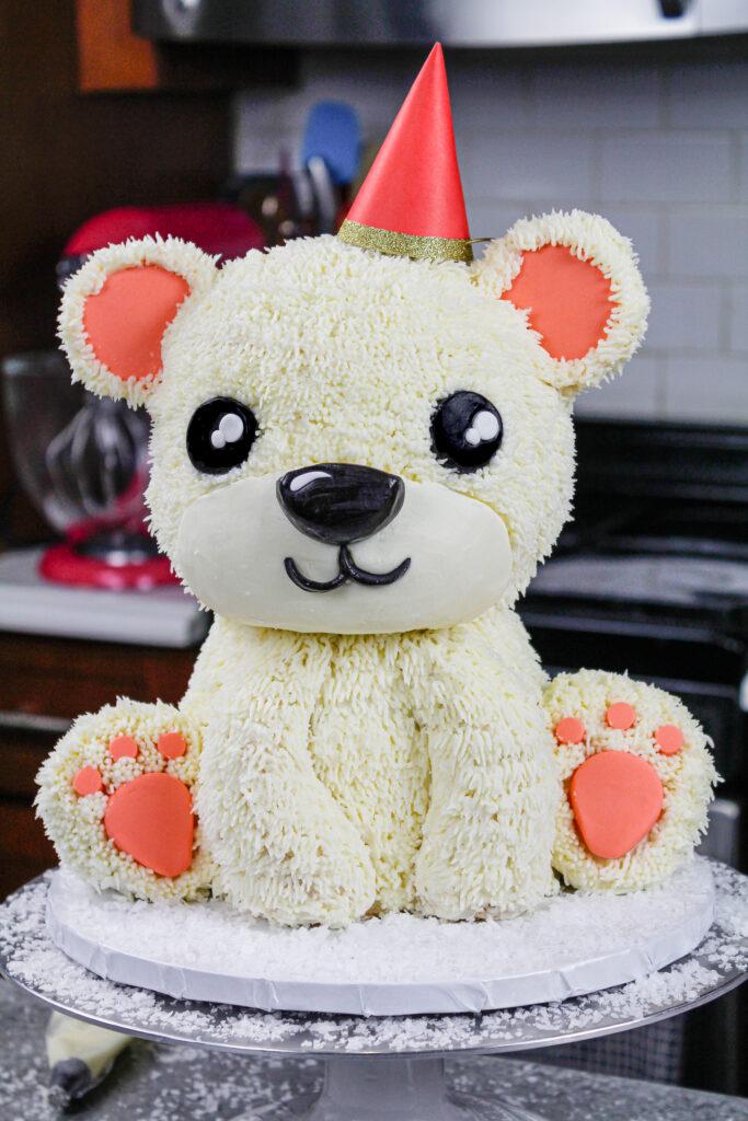 image of an adorable polar bear cake made for a birthday party