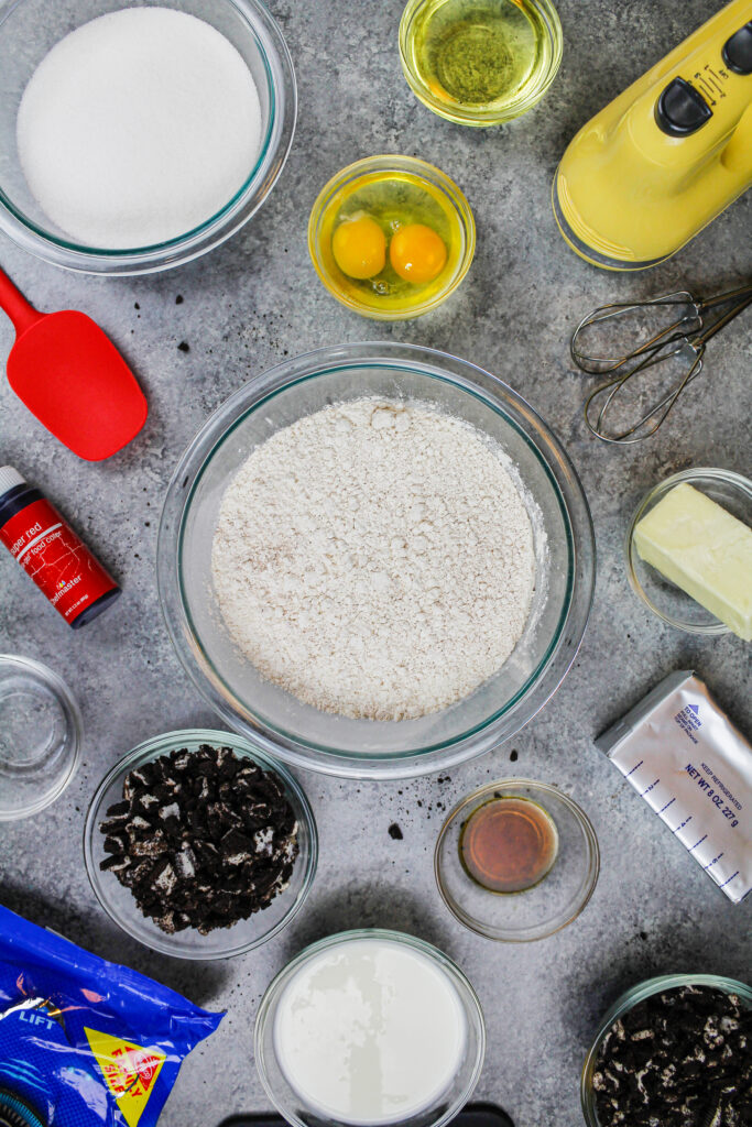 image of ingredients laid out to make a red velvet oreo cake