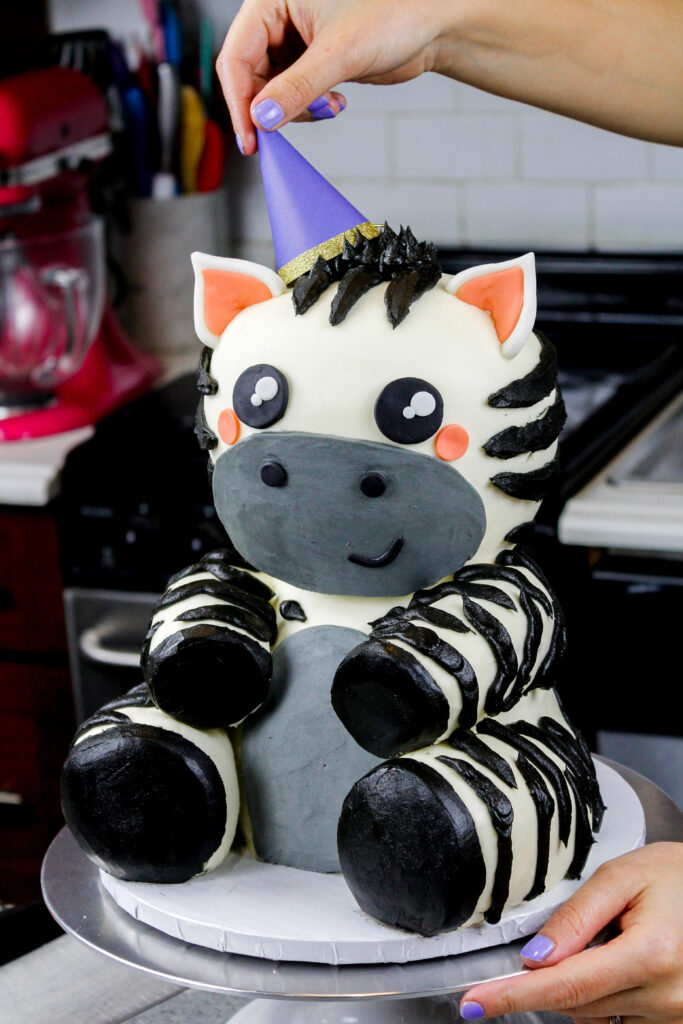image of an adorable baby zebra cake made for a birthday party