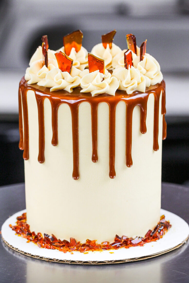 image of a mini brown sugar caramel drip cake made with 4-inch cake layers