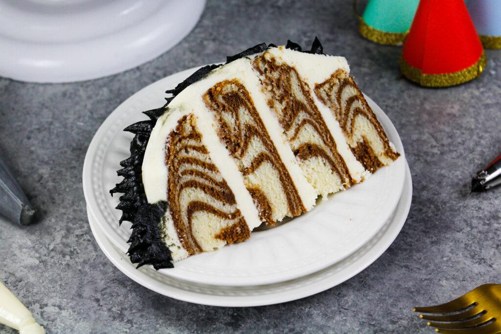 image of a cake slice from a zebra cake