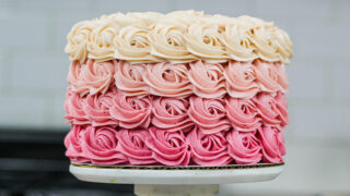 image of a gorgeous pink ombre rosette cake