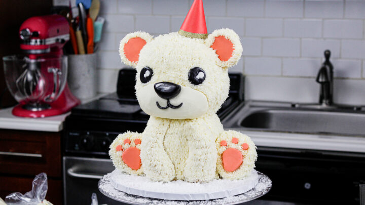 image of an adorable polar bear cake made for a birthday party