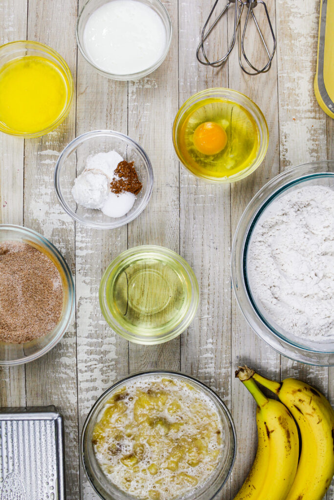 image of ingredients laid out to make cinnamon swirl banana bread