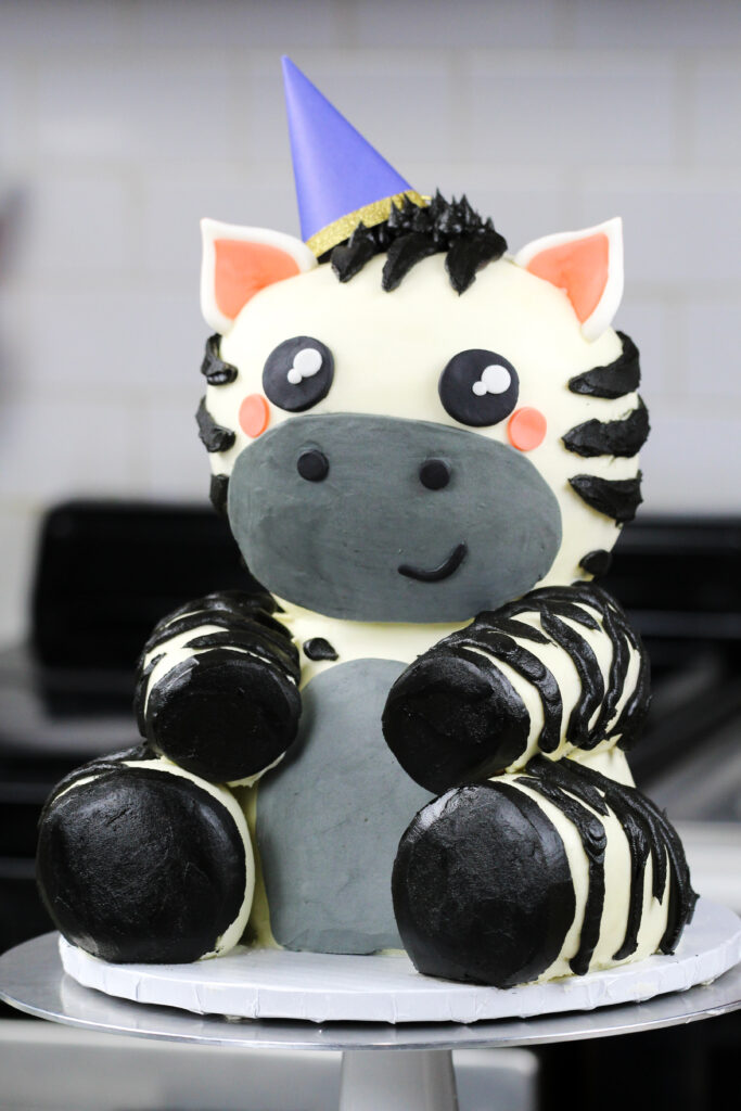 image of cute zebra cake made for a birthday party