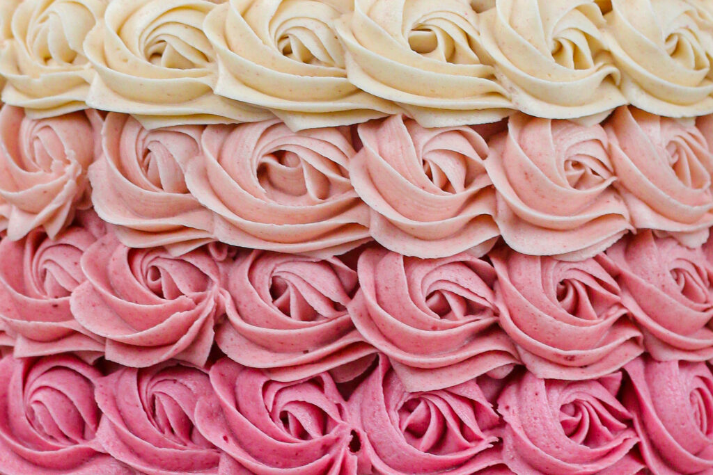 image of close up shot of perfect pink ombre buttercream rosettes made by chelsey white of chelswets