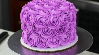 image a of a purple buttercream rosette made as part of a buttercream rosette tutorial