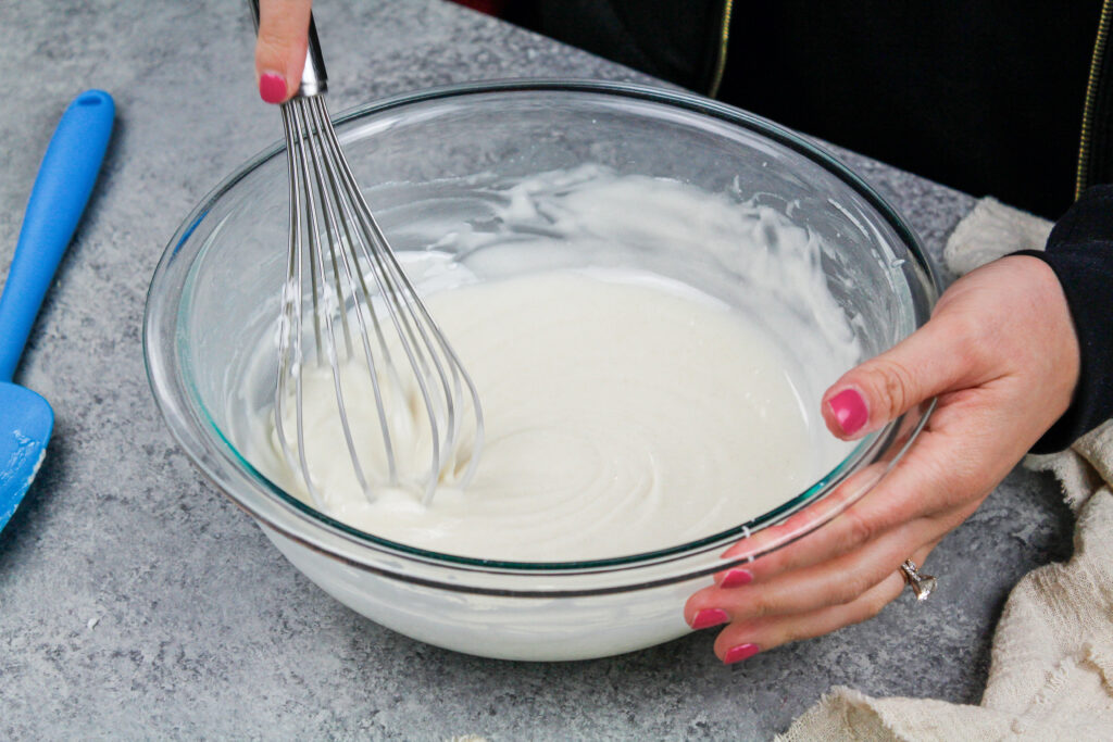 image of homemade cake release being made in a large bowl with a whisk
