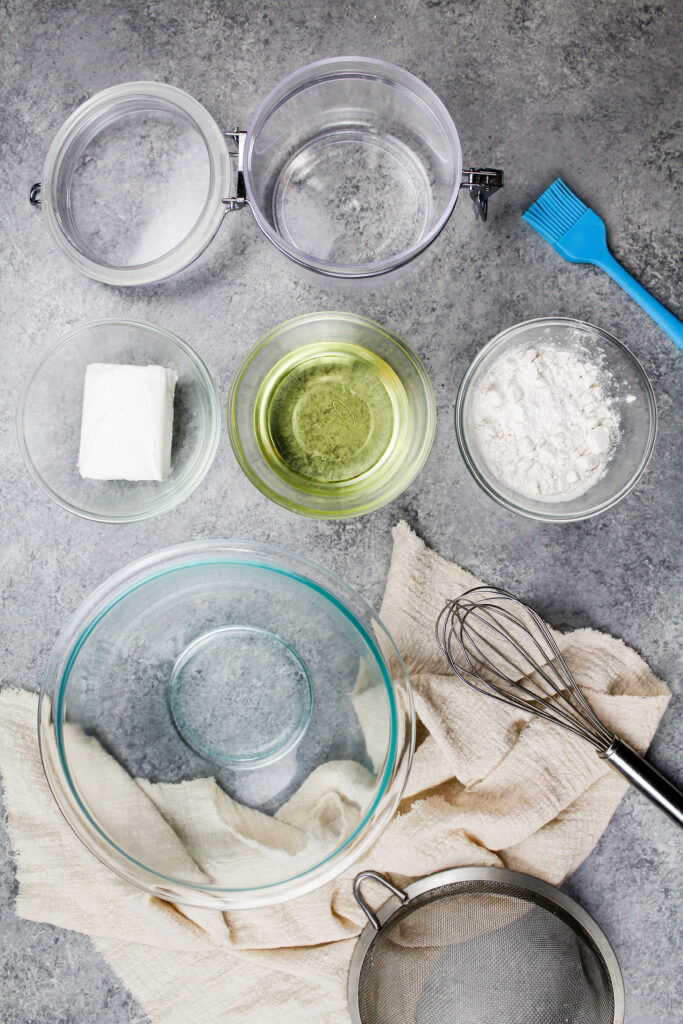 image of ingredients laid out to make homemade pan release with flour, oil and shortening