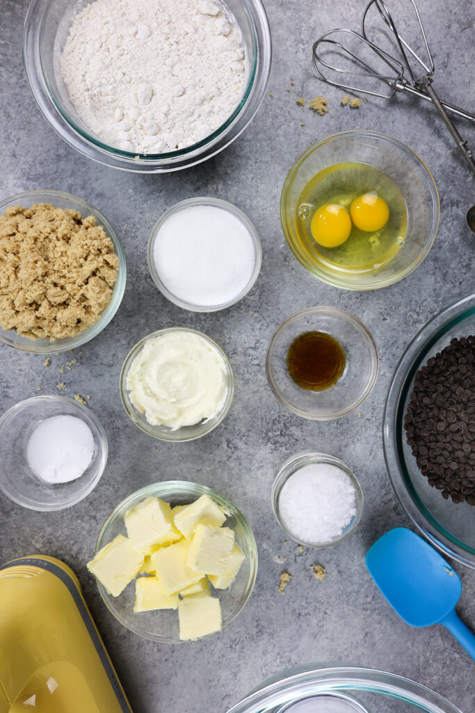 image of ingredients laid out on a counter to make cream cheese chocolate chip cookies