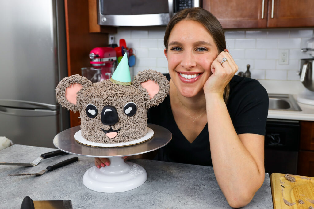 image of chelsey white of chelsweets with adorable koala cake