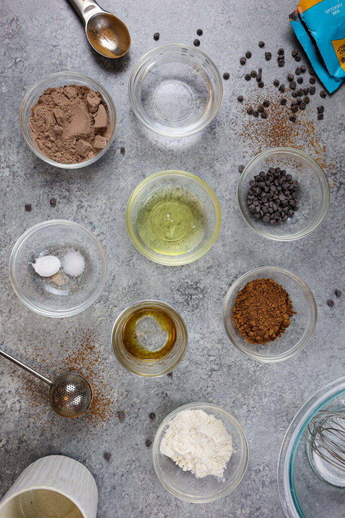 image of protein mug cake ingredients laid out on a counter