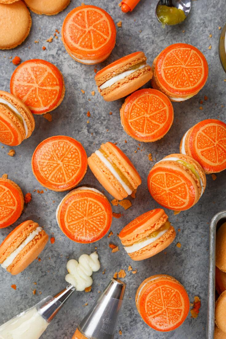 image of orange macarons filled with orange marmalade
