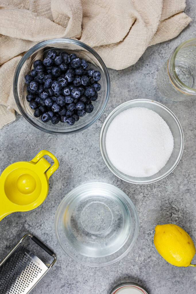 image of ingredients laid out to make blueberry simple syrup