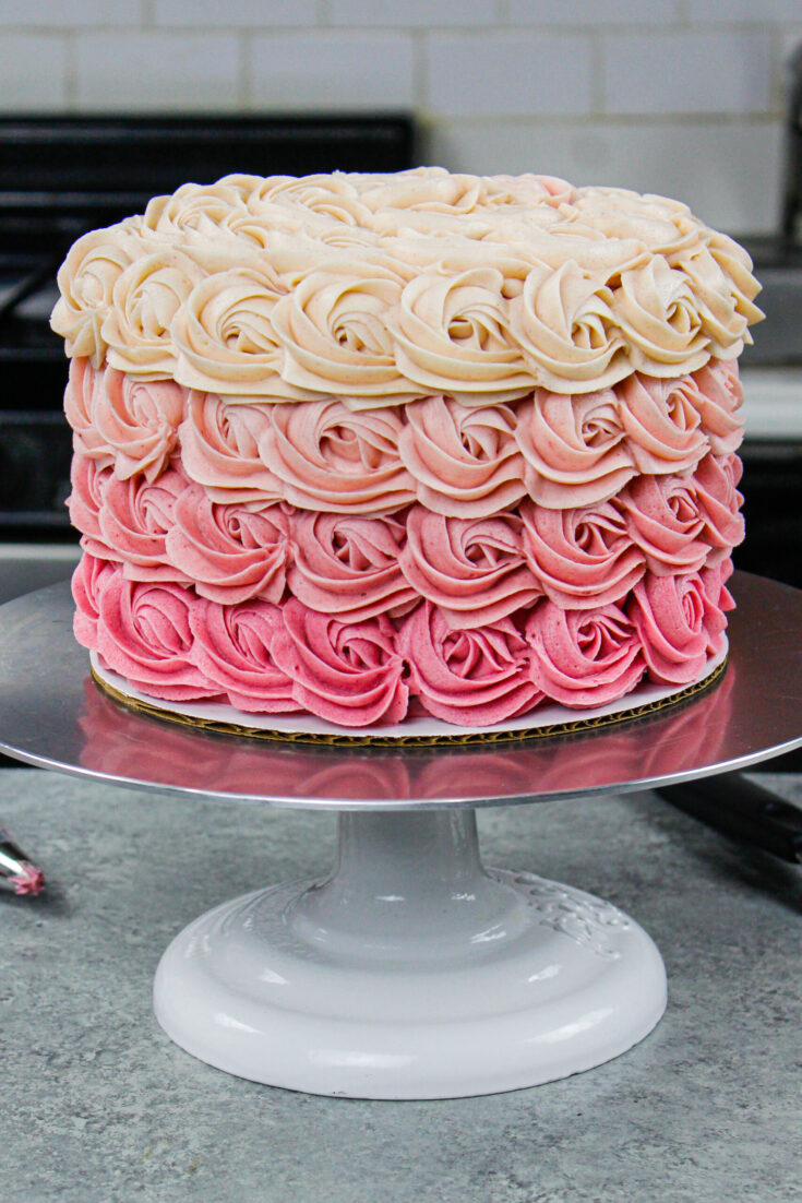 image of a gorgeous pink ombre rosette cake made with a wilton 1m open star frosting tip