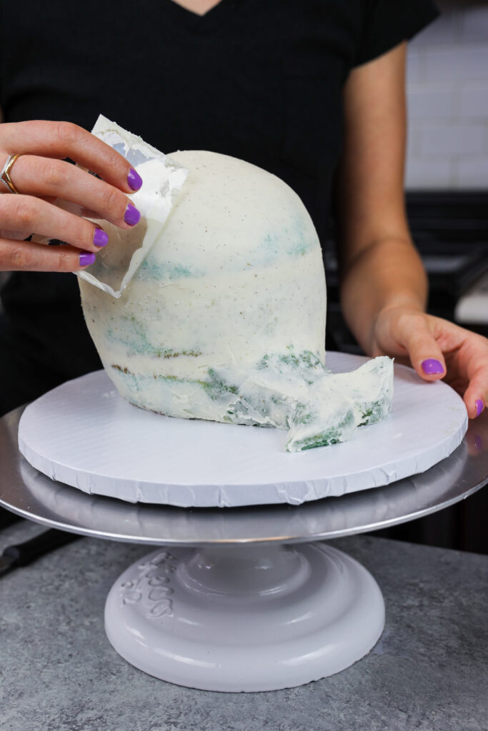 image of a whale shaped cake being crumb coated