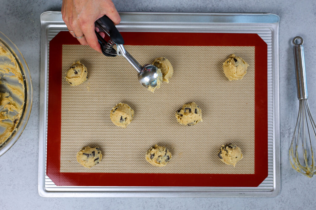 image of scooped no-chill cookie dough that is ready to be baked