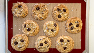 image of no chill chocolate chip cookies that have been garnished with flakey sea salt
