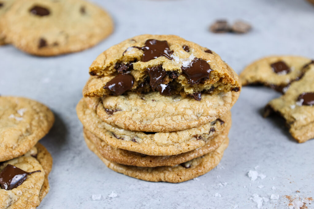 image of a stack of dark chocolate chip cookies