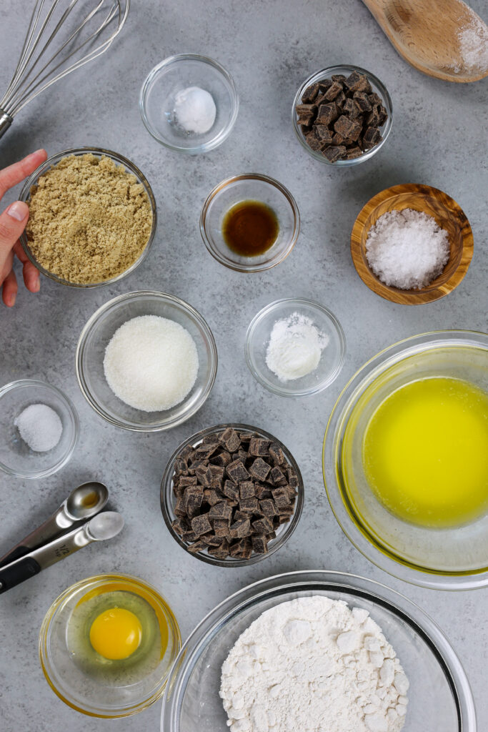 image of ingredients laid out to make salted chocolate chip cookies