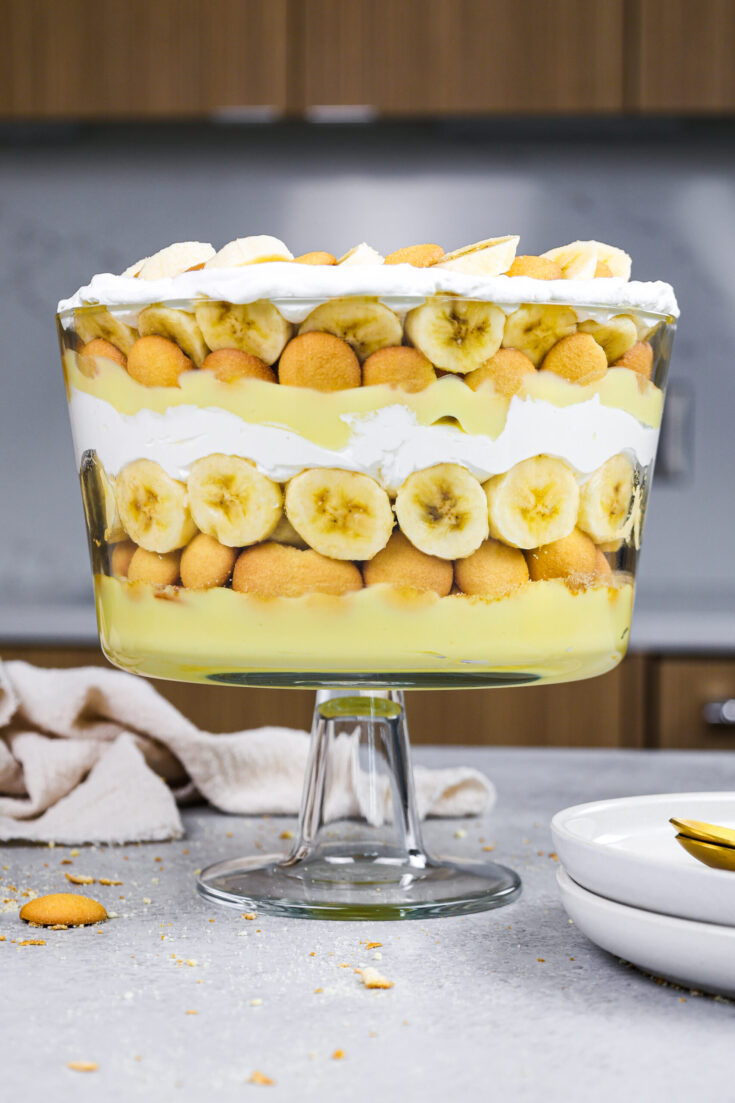 image of banana pudding trifle that's been layered and is ready to be eaten