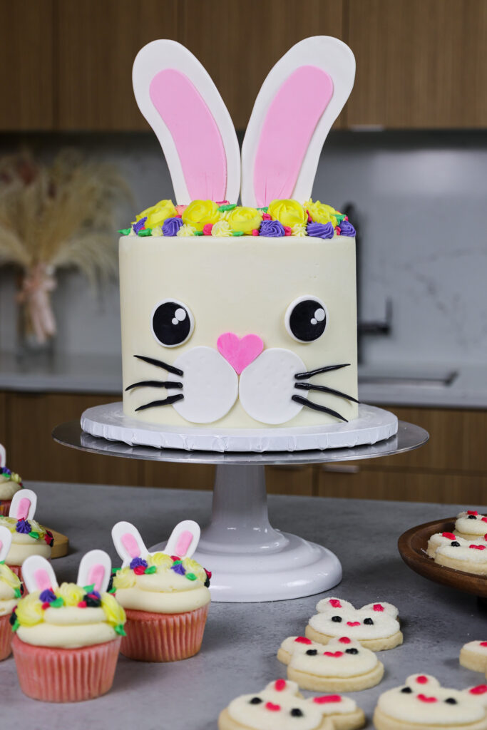 image of a bunny birthday cake made with funfetti cake layers and homemade vanilla buttercream