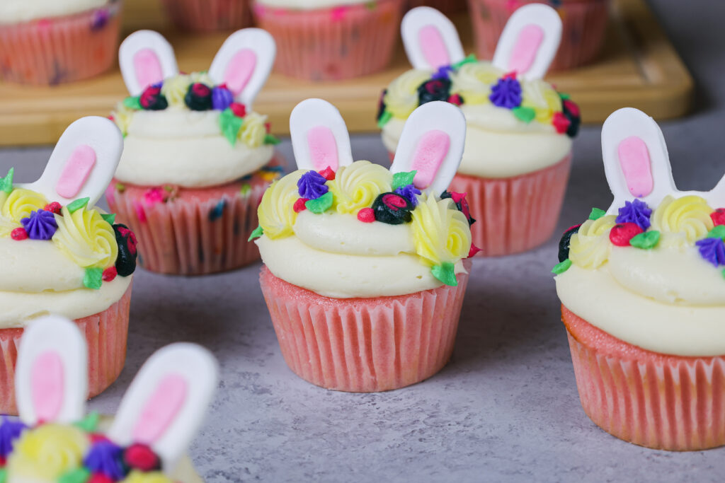 image of adorable and easy to make bunny cupcakes made with buttercream and fondant ears