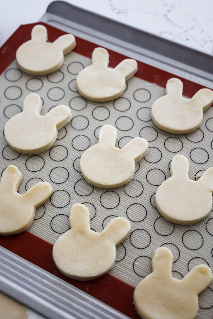 image of bunny rabbit cookies cut out and chilled and ready to be baked