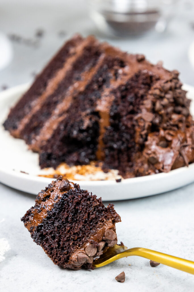 image of a slice of death by chocolate cake made with moist chocolate cake layers, decadent dark chocolate buttercream, and coated with mini chocolate chips on a plate